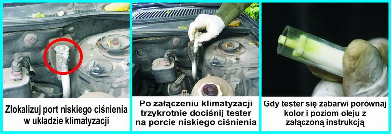 tester czystości i poziomu oleju w układzie klimatyzacji samochodowej