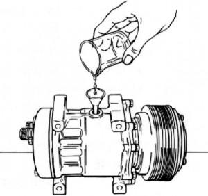 zalewanie kompresora klimatyzacji poprze korek wlewu oleju