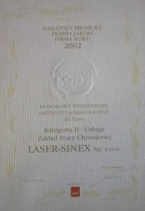 Zdrowe Miasto - kategoria Usługa - 2002, ekologiczne drukowanie, regeneracja tonerów